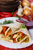 Tortilla wraps with chicken meat and vegetables Royalty Free Stock Photo