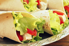 Tortilla wraps with chicken Royalty Free Stock Photos