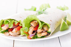 Tortilla wraps with chicken and vegetables Royalty Free Stock Photos