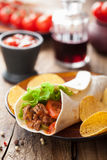 Tortilla wraps with meat and vegetables Stock Photos