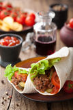 Tortilla wraps with meat and vegetables Royalty Free Stock Photo