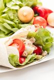 Tortilla wraps with meat and vegetables Stock Image