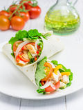 Tortilla wraps with roasted chicken fillet Stock Photos