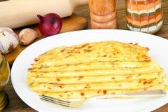 Tortilla z serem, Khachapuri georgians obrazy stock