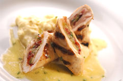 Tortillabrot- und -huhnrollen Lizenzfreie Stockbilder
