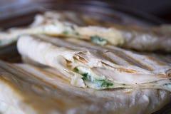 Tortillas с концом-вверх сыра Стоковые Изображения
