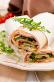 Tortillas with bacon and arugula salad Royalty Free Stock Photography