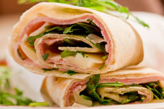 Tortillas with bacon and arugula salad Stock Images