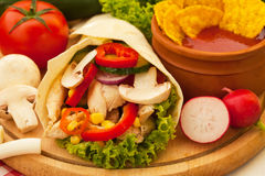 Tortillas with chicken and vegetables Royalty Free Stock Photos