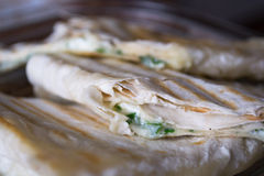 Tortillas con el primer del queso Imagenes de archivo