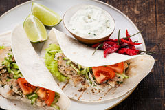 Tortillas filled with chicken Royalty Free Stock Image
