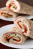 Tortillas with ham, cheese and vegetables Stock Photography