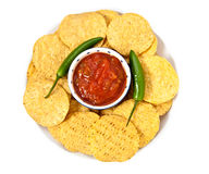 Tortillas and salsa Stock Images