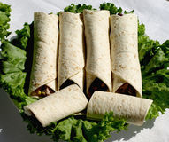 Tortillas. Tortilla Wraps With Roasted Chicken Fillet Royalty Free Stock Photography