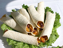Tortillas. Tortilla Wraps With Roasted Chicken Fillet Royalty Free Stock Images