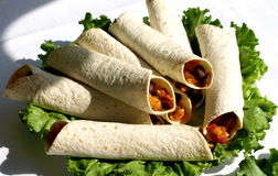 Tortillas. Tortilla Wraps With Roasted Chicken Fillet, Tomato, And Paprika Stock Photos