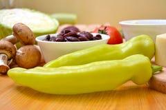Tortillaverpackungen Vorbereitung und gedient stockbilder