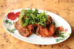 Tortini al curry fritti in grasso bollente del pesce Fotografie Stock Libere da Diritti