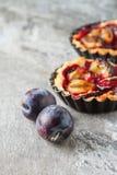 Tortini casalinghi del dolce con la prugna su vecchio fondo di pietra Fotografia Stock