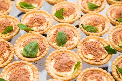 Tortini con il formaggio di mascarpone su una tavola di buffet Fotografia Stock Libera da Diritti