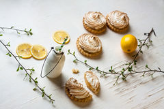 Tortini con la cagliata e la meringa di limone fotografia stock