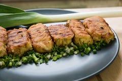 Tortini deliziosi e freschi della patata con le erbe e cipolle Immagine Stock Libera da Diritti
