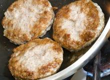 Tortini della salsiccia di maiale Fotografie Stock Libere da Diritti
