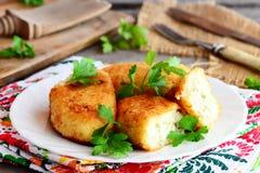 Tortini piccanti della patata del cavolfiore con l'uovo che riempie su un piatto bianco I tortini fritti hanno cucinato con le ve Fotografie Stock