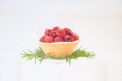 Tortino del lampone con la decorazione dei rosmarini su fondo bianco Immagine Stock Libera da Diritti