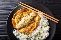 Tortino dell'uovo fritto di Yong di foo dell'uovo che contenente le verdure e carne con il primo piano di contorno del riso su un fotografie stock libere da diritti