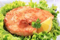 Tortino di color salmone fritto vaschetta immagini stock libere da diritti
