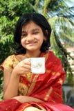 Torto del tè e del dolce di mattina Fotografie Stock