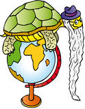 Tortoise. Old turtle on the world map Royalty Free Stock Photography