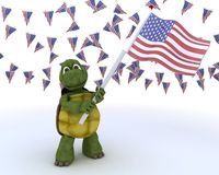 Tortoise with american flag Royalty Free Stock Photos