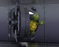 Tortoise in a bank vault Stock Photography