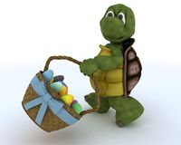 Tortoise with basket of easter eggs Royalty Free Stock Photos