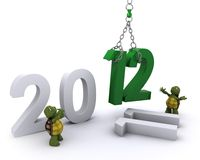Tortoise Bringing the new year in Stock Photo