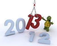 Tortoise bringing in the new year Stock Photo