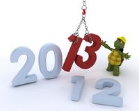 Tortoise bringing in the new year Royalty Free Stock Photos