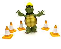 Tortoise builder with hazard cones Royalty Free Stock Image