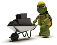 Tortoise Builder with a wheel barrow Royalty Free Stock Images