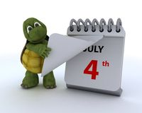 Tortoise with a calendar Stock Photo