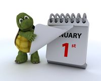 Tortoise with a calendar. 3D render of a tortoise with a calendar stock illustration