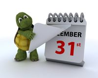 Tortoise with a calendar. 3D render of a tortoise with a calendar Royalty Free Stock Image