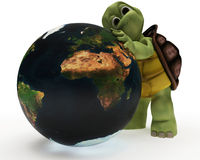 Tortoise Caricature hugging the earth Stock Images