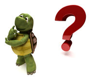 Tortoise Caricature thinking by a question mark Stock Images