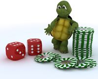 Tortoise with casino dice and chips Stock Photography