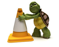 Tortoise with a caution cone Stock Photography