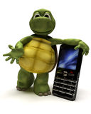Tortoise with a cell phone vector illustration