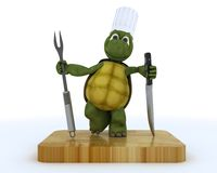 Tortoise chef with carving knife and fork Stock Image